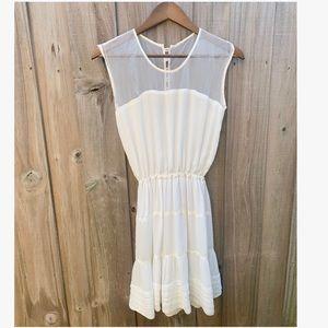 Farm Rio Off White Silk Sheer Dress
